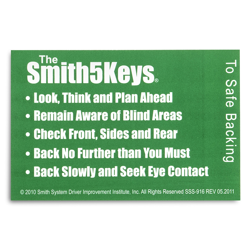 Dashboard Reminders - The Smith5Keys to Safe Backing
