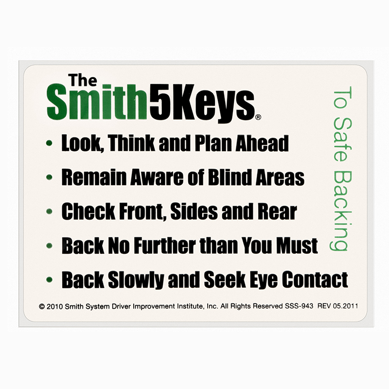 The Smith5Keys® to Safe Backing Window Sticker