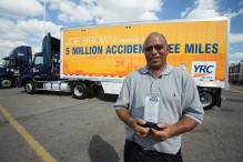 Joe Brown, a driver for YRC Freight's Memphis terminal, has logged 5 million miles in a 39-year career without an accident. Brown was honored Wednesday at the terminal by company executives.   (Daily News/Andrew J. Breig)